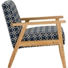Francis Patterned Fabric Armchair - Navy Blue - WI-DO-6307-NAVY-BLUE