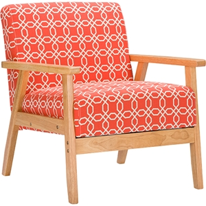 Francis Patterned Fabric Armchair - Orange