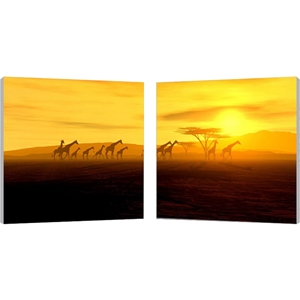 Glorious Giraffes Mounted Photography Print Diptych - Multicolor