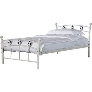 Soccer Metal Twin Bed - White