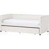 new style 598b9 88be7 Frank Faux Leather Button Tufted Twin Daybed - Trundle Bed, White