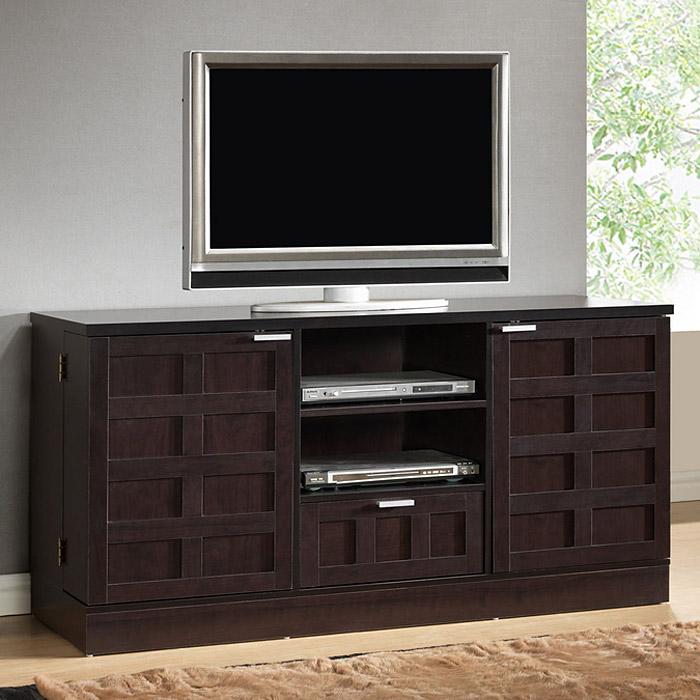 Tosato Wooden TV Cabinet   Dark Brown, 2 Cabinets, 1 Drawer   WI  ...
