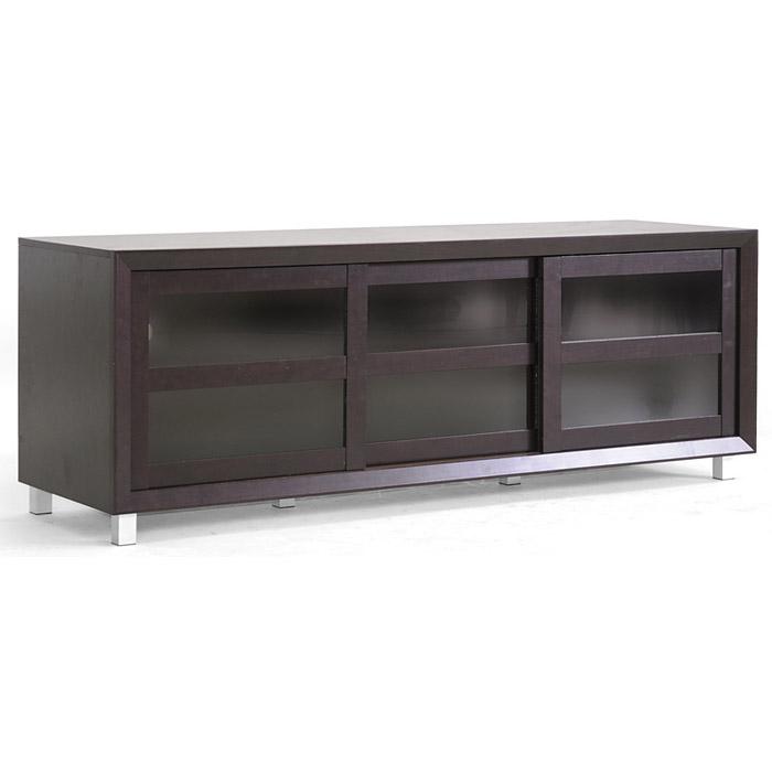Pacini 65 Wooden Tv Stand Dark Brown Tempered Glass Doors Dcg