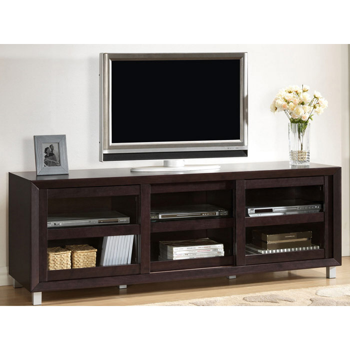 Pacini 65'' Wooden TV Stand - Dark Brown, Tempered Glass Doors - WI-FTV-4123