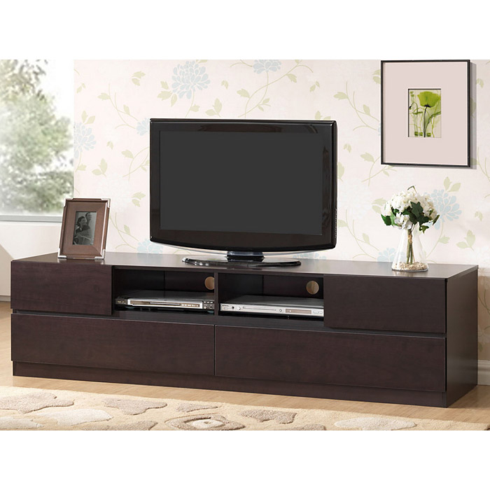 Lovato 70 Wooden Tv Stand Dark Brown 4 Drawers Dcg Stores