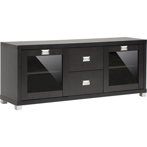 Foley 2 Drawers TV Stand - 2 Doors, Dark Brown