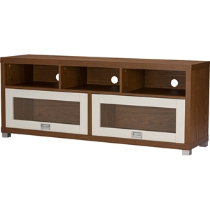 Swindon 2 Glass Doors TV Stand - Walnut, White