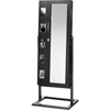 Vittoria Floor Standing Jewelry Armoire Cabinet - Double Doors, Black - WI-GLD13358-BLACK