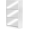 Albany Shoe Storage Cabinet - Mirror, White - WI-GLS17016-WHITE