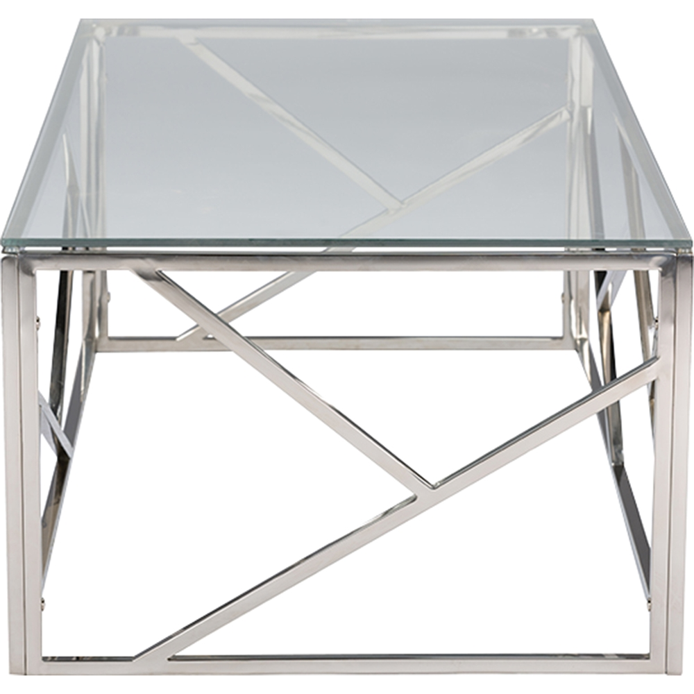 Fiona rectangular coffee table glass top stainless for Rectangular coffee table with glass top
