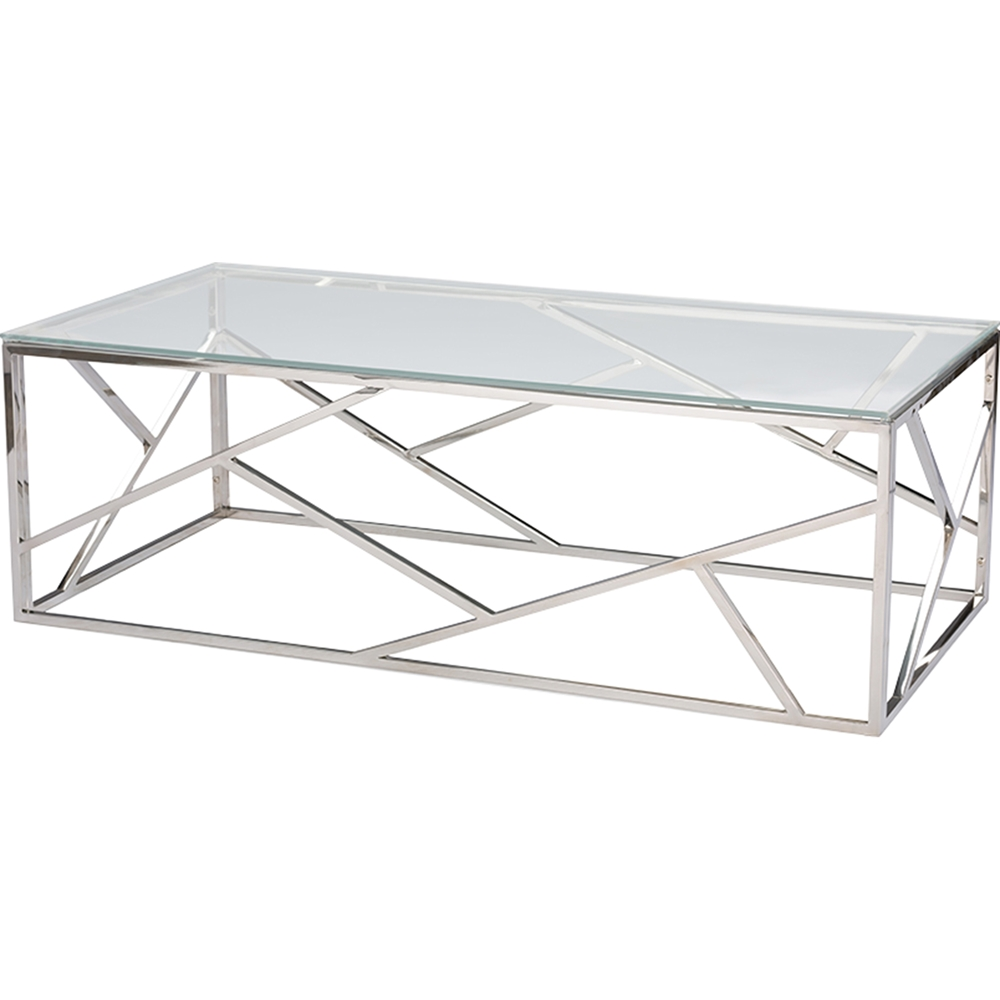 Modern Designer Large Round Coffee Table Glass Top Stainless Steel: Fiona Rectangular Coffee Table
