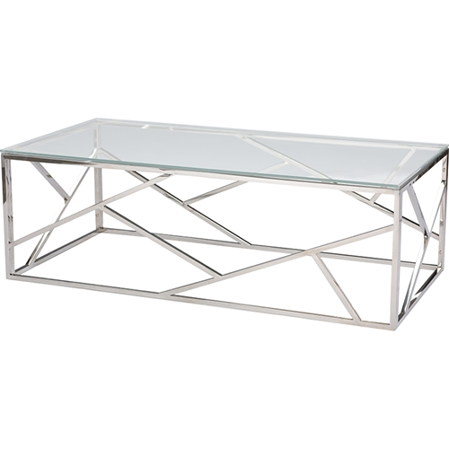 Metal Square Coffee Table With Glass Top And Triangular: Fiona Rectangular Coffee Table