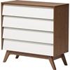 Hildon Wood 4 Drawers Storage Chest - White and Walnut - WI-HILDON-4DW-WALNUT-WHITE-CHEST