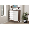 Hildon Wood 5 Drawers Storage Chest - White and Walnut - WI-HILDON-5DW-WALNUT-WHITE-CHEST