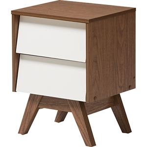 Hildon Wood 2 Drawers Storage Nightstand - White and Walnut