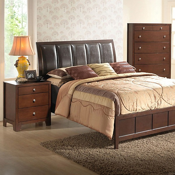 Butler King Bedroom Set - Sleigh, Upholstered Headboard, Brown - WI-IDB019-5PC-KING-BED-SET