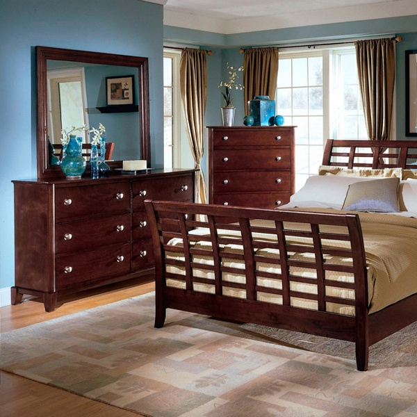 Barton King Wooden Bedroom Set - Panel Sleigh Bed, Cherry - WI-IDB022-5PC-KING-BED-SET