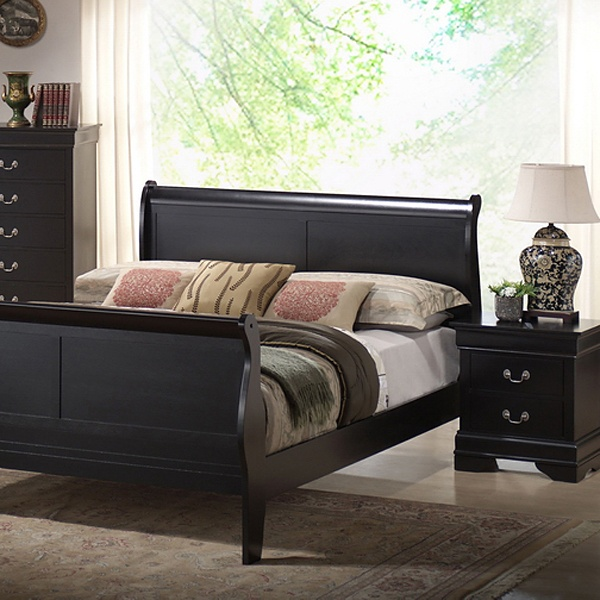 Harrell Queen Size Transitional Bedroom Set Black Sleigh Bed Dcg Stores