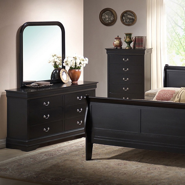Harrell queen size transitional bedroom set black sleigh for Transitional bedroom furniture