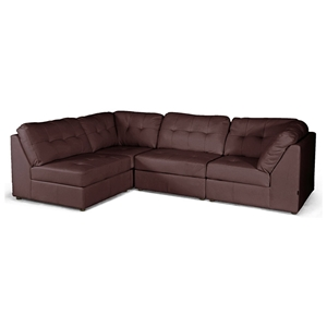 Warren 4-Piece Modular Sectional Sofa - Dark Brown Leather