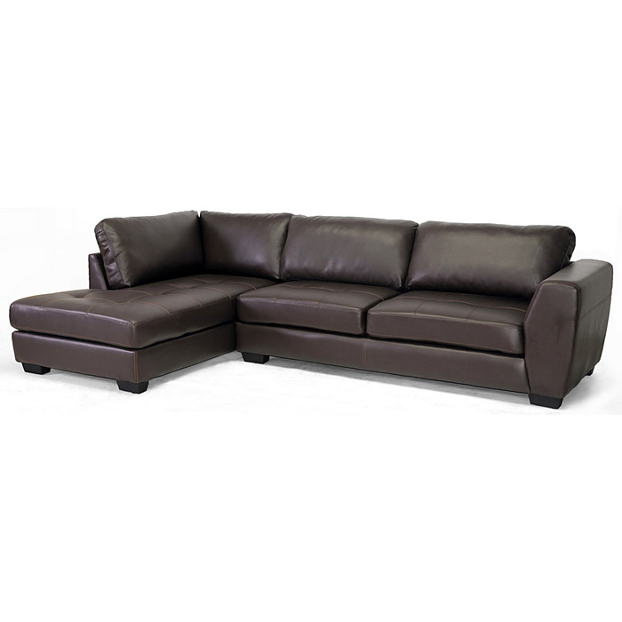 Orland sectional sofa dark brown leather left facing for Brown leather chaise sofa