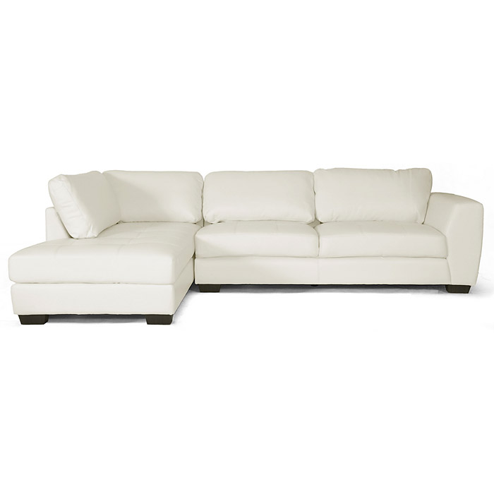 Orland sectional sofa white leather left facing chaise for Leather sectional sofa with left facing chaise