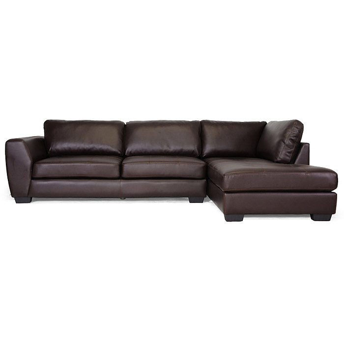 orland sectional sofa dark brown leather right facing chaise dcg stores. Black Bedroom Furniture Sets. Home Design Ideas