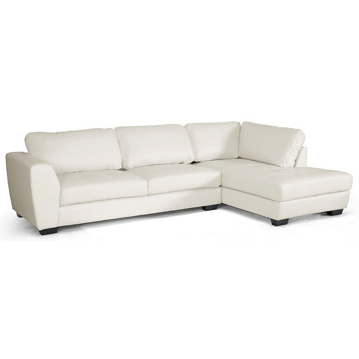 Orland Sectional Sofa White Leather Right Facing Chaise