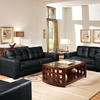 Whitney Modern Sofa and Loveseat - Tufted, Black Leather - WI-IDS06LT-LT02-BLACK-2-PC-SOFA-SET