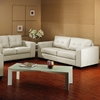 Whitney Modern Sofa and Loveseat - Tufted, Ivory Leather - WI-IDS06LT-LT12-PEARL-2-PC-SOFA-SET