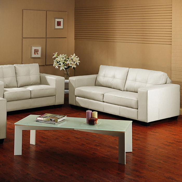 Whitney Modern Sofa And Loveseat Tufted Ivory Leather