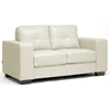 Whitney Modern Sofa and Loveseat - Tufted, Ivory Leather | DCG Stores