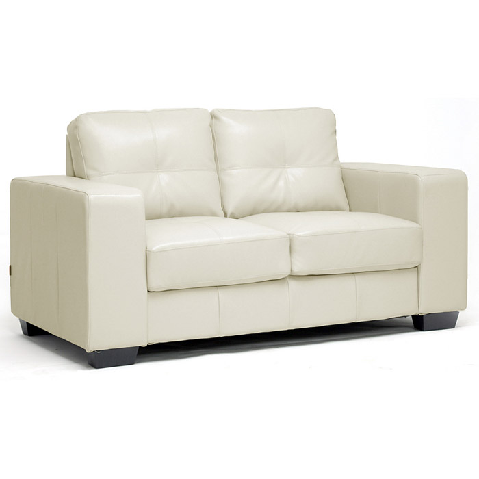 Whitney Modern Sofa And Loveseat Tufted Ivory Leather Dcg Stores