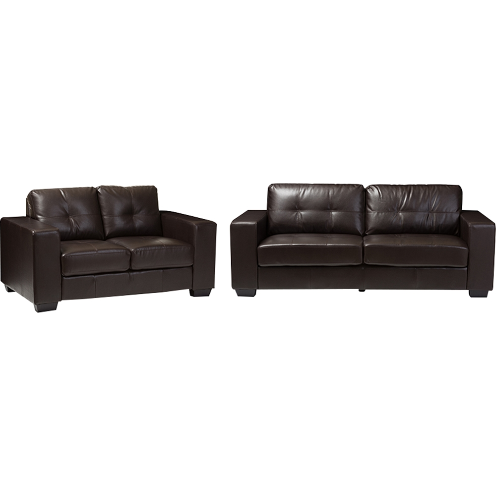 Whitney 2 piece bonded leather sofa set brown dcg stores for 2 piece furniture set