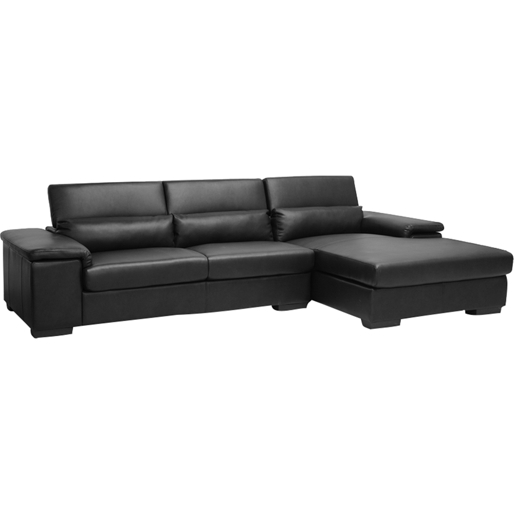 Awe Inspiring Dolan Leather Sectional Sofa Right Facing Chaise Black Short Links Chair Design For Home Short Linksinfo