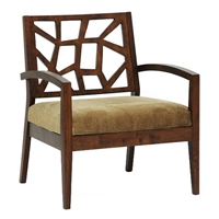 Jennifer Wooden Lounge Chair with Fabric Seat