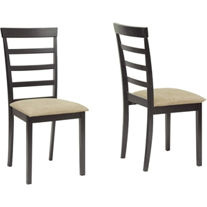 Jet Sun Dining Chair - Dark Brown, Beige (Set of 2)