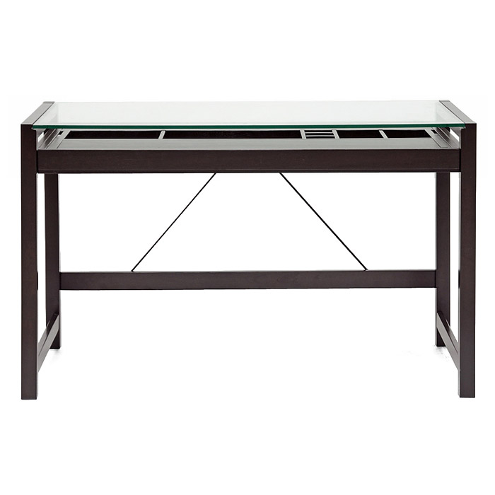 Idabel Wooden Desk - Tempered Glass Top, Espresso Finish - WI-RT207-TBL