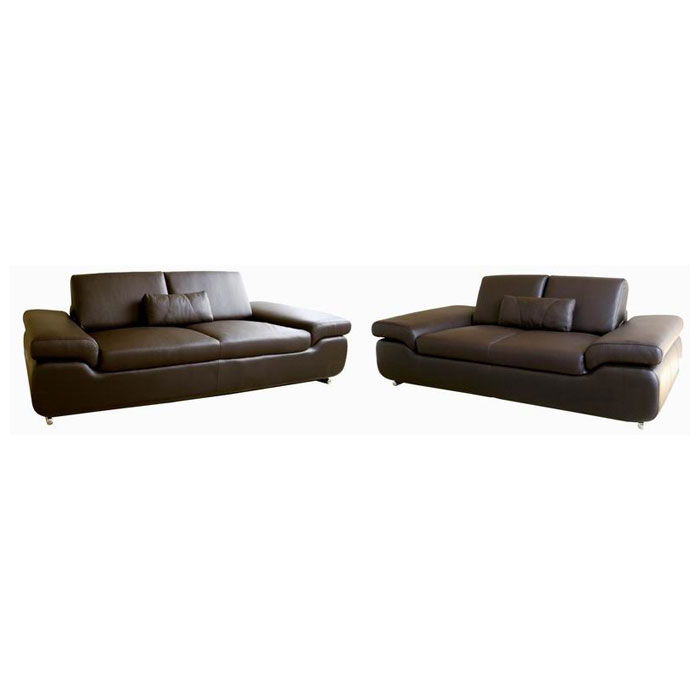 Luxury Dark Brown Leather 2-Piece Set - WI-LUXURY-LEATHER