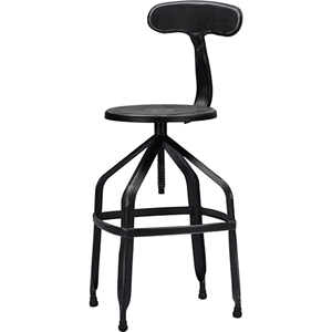 Architects Backrest Bar Stool - Adjustable Height, Antique Black