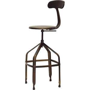 Architects Backrest Bar Stool - Adjustable Height, Antiqued Copper