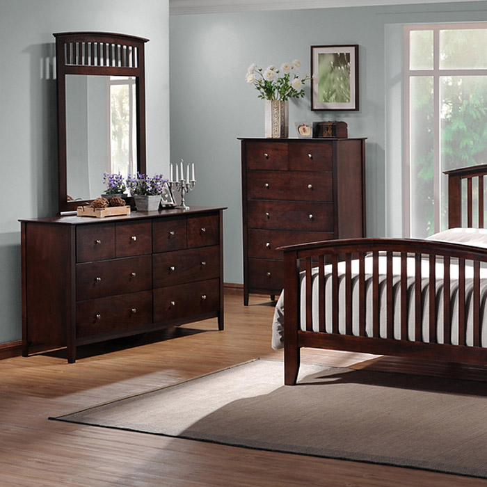 Metropolitan 5 Piece Queen Bedroom Set Slat Bed Wenge Wood Dcg Stores