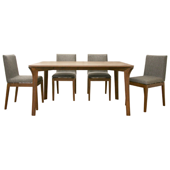 Mier Brown 5 Piece Modern Dining Set