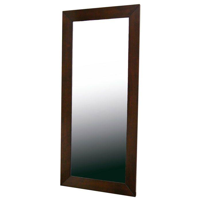 Doniea Dark Brown Wood Frame Rectangular Floor Mirror | DCG Stores
