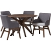Monte Round 5-Piece Dining Set - Walnut Base, Two-Tone Gray Upholstered - WI-MONTE-DARK-GRAY-WALNUT-5PC-DINING-SET