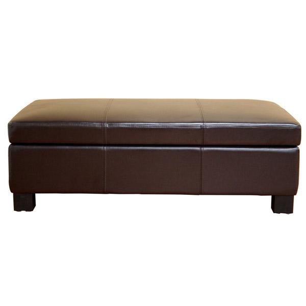 Roselie Dark Brown Leather Storage Ottoman Dcg Stores