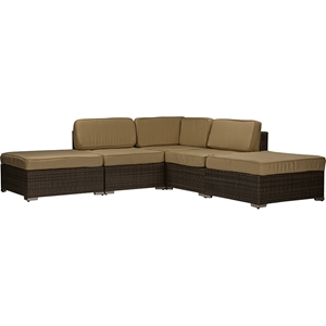 Owen Outdoor Sectional Sofa - Tan, Brown