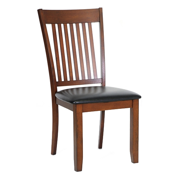 Rachel Slat Back Dining Chair - Walnut Frame, Black Seat - WI-PCH-5007-S3