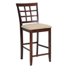 Katelyn 25'' Wood Counter Stool - Cappuccino, Beige Seat - WI-PCH-6844-S3-24