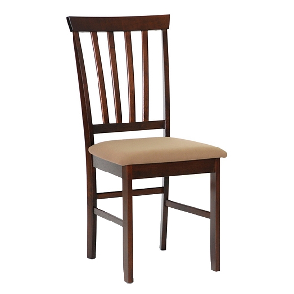 Tiffany Slatted Dining Chair - Cappuccino, Taupe Seat - WI-PCH6822